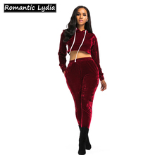 Velour Tracksuit 2018 Women 2 Piece Set Top and Pants Velvet Tracksuits Sweatsuit Crop Top And Tract Pant Suit Hoodie Sweatshirt(China)