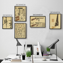 World Famous Gun Posters Military Fans Vintage Poster Kraft Paper Decorative Painting Paper Posters Wall Sticker