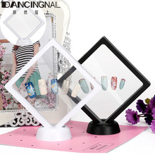 3D Floating Nail Tips Display Stand Holder Bague Packaging Box With PET Membrane Jewellery Stones Presentation Case 10.7*10.7cm