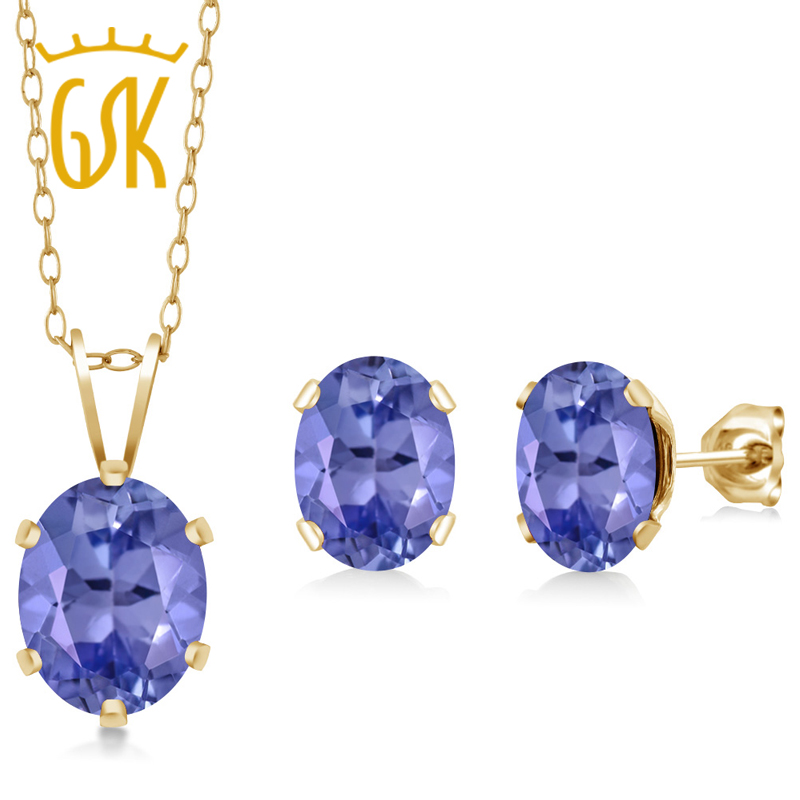 2.66 Ct Oval Blue Tanzanite Gold Plated Silver Pendant Earrings Set(China (Mainland))