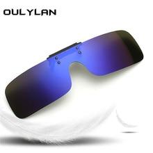 Oulylan Siamese Polarized Clip Sunglasses Men Women Night Vision Driving Flip Myopia glasses Lens Mirror Sun Glasses UV400