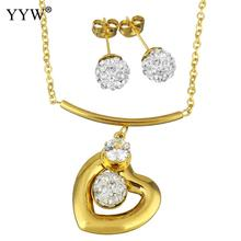 Fashion Stainless Steel Jewelry Sets earring necklace Rhinestone Clay Pave Heart gold color plated oval chain woman Sold By Set