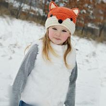 Baby Winter Hat Winter Wool Knitted Fox Pattern Hats Baby Girls Hooded Caps Baby Photography Props Touca Infantil #1102(China)