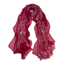 Women's Bohemian Vintage Deer Disk Print Long Soft Sheer Voile Shawl Wrap Scarf(China)