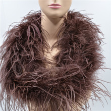 Length 2 Meters Dark brown Ostrich Feather Boas Lady Scarf for Clothing Accessories Wedding Decorations Centerpieces Feathers(China)