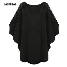 LASPERAL 5XL Plus Size Women T Shirt 2017 Summer Harajuku Fashion Lace Crochet Patchwork Batwing Sleeve Loose Casual Tee Shirt