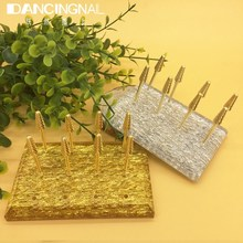 12 Holes Acrylic Nail Drill Bit Holder Exhibition Stand Nail Grinding Stone Head Gold Silver Display Base Manicure Art Tools New(China)