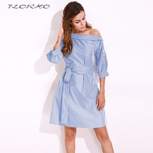 2017 Autumn Womens One Off Shoulder Striped Women Shirt Dress Classic Vintage Style Elegant Waistband Dresses Plus Size Vestidos(China)
