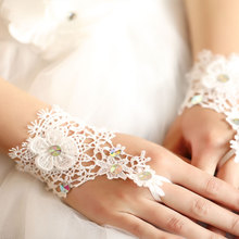 Lace short white fingerless fashion flower girl kid child student party performance dancing gloves arm warmer free shipping
