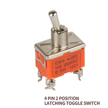 toggle switch 15A 250VAC 2 position files 4 screw pin latching handle switch ON OFF E-SG-1221 Miniature 12mm