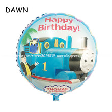 25pcs/lot 45*45cm Round Thomas And Friend Foil Balloons Cartoon Thomas Mylar Balloons For Child Birthday Party Decorations(China)