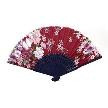 UXCELL Red Navy Blue Bamboo Ribs Peony Pattern Foldable Hand Fan red