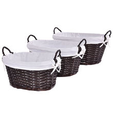 3Pcs/set Willow Wicker Storage Basket with Linen Picnic Shopping Hamper with Handle Round Oval Rattan Steamed Cassette