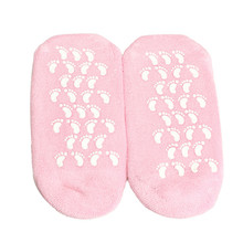 1 Pair Pink Feet Gel Spa Foot Care Moisturizing Socks Soft Repair Cracked Foot Skin Treatment Stretchable for Women Feet Care(China)