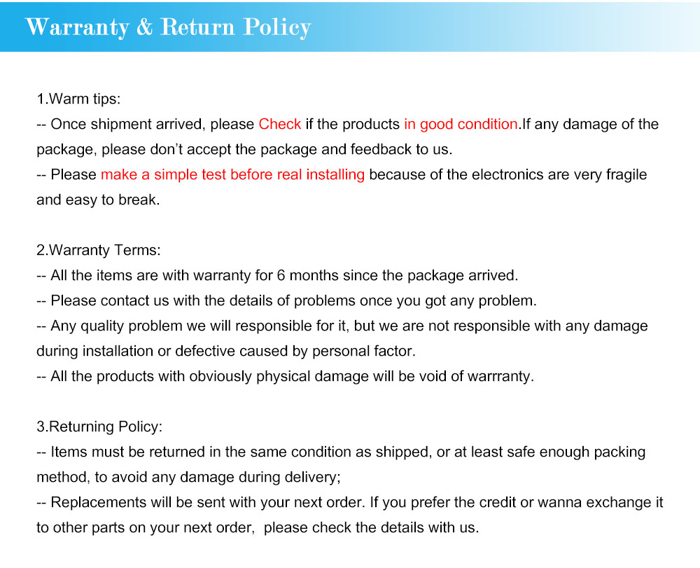 5-Warranty & Return Policy