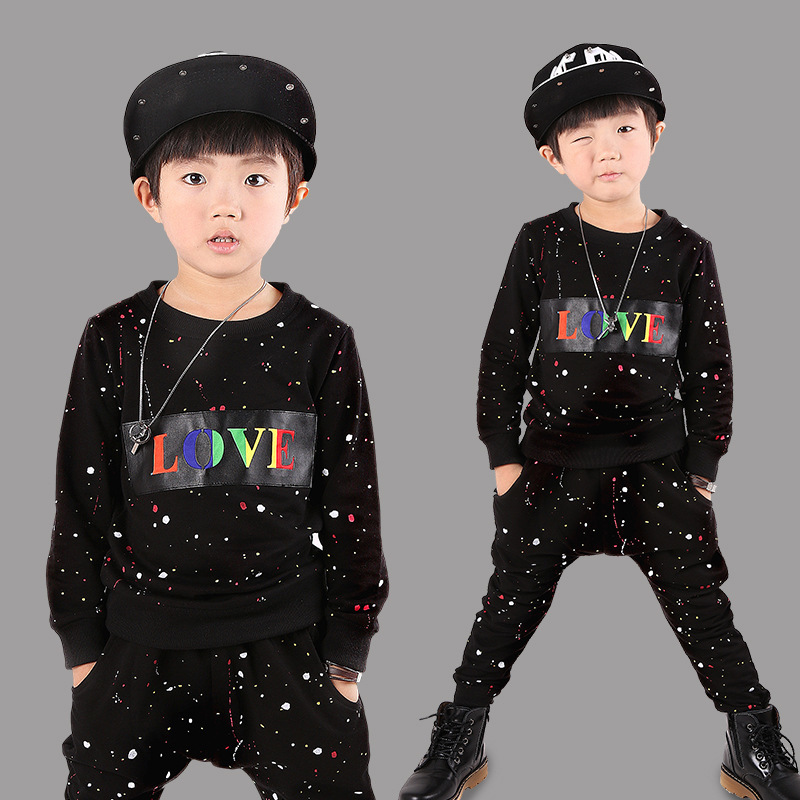 Childrens Hip Hop Dance Sets 2017 Pattern Korean Children Autumn Pure Cotton Harem Pants Sweatshirts Suit Streetwear 3-10 years<br>