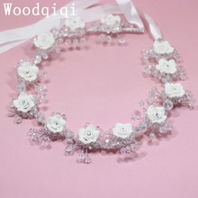 Woodqiqi Wedding Hair Vine Head Piece Rhinestone Bridal Headpieces Headband bride wedding dress style studio portrait styling(China)