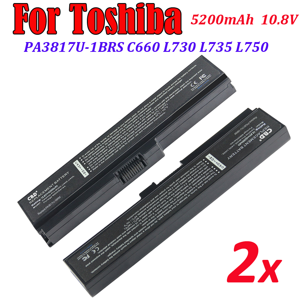 2PCS for TS-PA3817U TOSHIBA Satellite L750 L700 L730 L750 L745D L755 L770 L775 10.8V/5200 6cell Laptop Battery Replacement(China (Mainland))