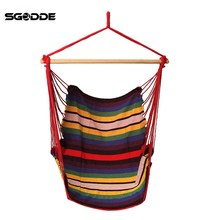 SGODDE Garden Patio Porch Hanging Cotton Rope Swing Chair Seat Hammock Swinging Wood Outdoor Indoor Swing Seat Chair