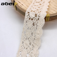 5yards/lot wide 4cm Beige Sewing Lace Trims Tabelcover Curtain Sweater Wrap Embellishment DIY Handmade Cotton Fabric Material