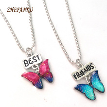 Buy 2017 new fashion necklace 2pcs /set Best Friends Butterfly Pendant Necklaces Friendship Jewelry Christmas Gift for $1.03 in AliExpress store