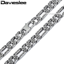 Davieslee Mens Heavy Necklace Chain Silver Tone 316L Stainless Steel Figaro Animal Skin Link Wholesale Jewelry 10mm LHN34
