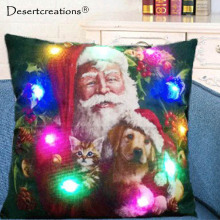 LED Xmas Style Cushion Cover Merry Christmas! Santa Claus Home Pillows Cover Nordic Cotton Linen Sofa Bed Cat Dog Pillow Case