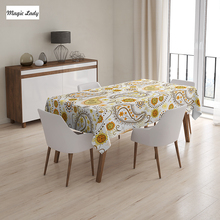 Indian Table Cloth Ethnic Indian Floral Pattern Sunflowers Paisley Vintage Boho Orange Yellow White 145x120 cm / 145x180 cm