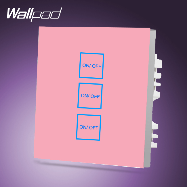 New Arrival Wallpad Smart Home 3 Gang 2 Way Luxury Pink Glass LED Touch Screen Switches Light,Free Shipping<br>