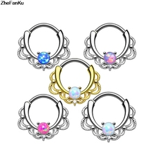 1 piece New Fashion 2017 Lacey Opal Gem Septum Ring Rook Clicker Nose Ring Titanium Shaft Body Piercing Jewelry(China)