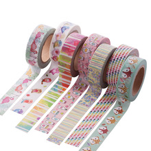 15MM*10M Cartoon Fox Flamingo Washi Tape Cute Birds Pattern Masking Tape Decorative Scrapbooking Adhesive Tape