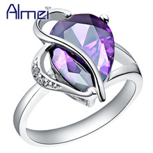 Almei 5%Off Heart Pear Zircon Rings for Women Vintage Engagement Party Friends Anel Gift Jewelry Silver Color Ring Anillos J093(China)