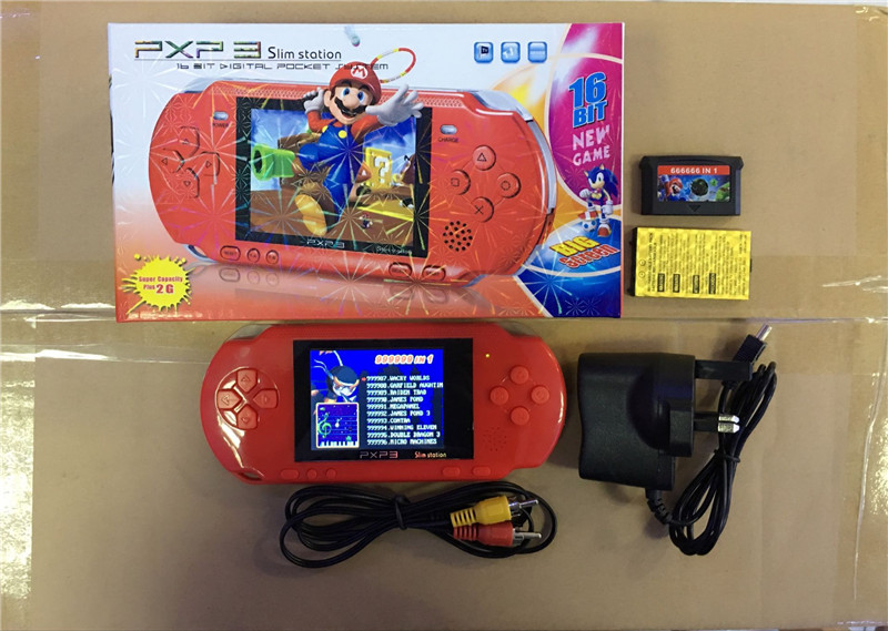 KaRue Handheld Game16 Bit PXP3  Player Video Game Console with  Classic Child Games PXP 3 Slim Station