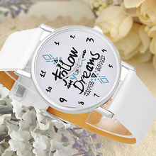 Girls Casual Follow Your Dream Quote Print Faux Leather Strap Quartz Wrist Watch