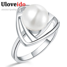 Uloveido Wedding Rings for Women Silver Rose Gold Color Simulated Pearl Jewelry Anillos Mujer Dropshipping Suppliers 15%off J316(China)