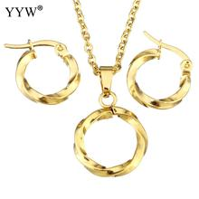 Fashion Stainless Steel Jewelry Sets earring & necklace Donut gold color plated oval chain & for woman 19 Inch Sold By Set