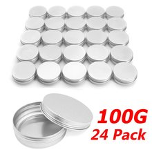 Cosmetic Cream Jars Boxes 24pcs/lot Aluminium 100g 3.5 Ounce 83*29mm Screw On Lids With Lid Case Jar Tins Lip Balm Container(China)
