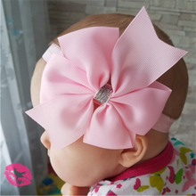 4.3 inch New Baby hair bow flower Headband Silver ribbon Hair Band Handmade DIY hair accessories for children newborn toddler750(China)