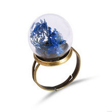 Dandelion Seed Wish Real Flower In Glass Ball Resizable Copper Wedding Rings For Women Vintage Retro Love Jewelry Charms Boho