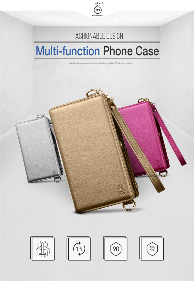 4 in 1 Leather Wallet Bag Case for iPhone X 6 6s 7 8 Plus Detachable Phone Cover Card Slot Girl Women Shoulder Bag Handbag Pouch (3)
