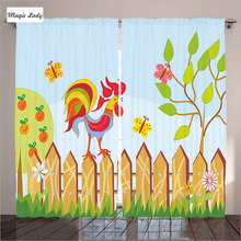 Curtains Rustic Fence Village Traditional Ethnic Wooden Living Room Bedroom Rooster Rural Trees Skies Grass Blue 290x265 cm home