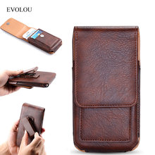 EVOLOU Vertical Waist Bag Belt Clip Leather Case for iphone 7 6s Plus Universal Phone Bag for Xiaomi Huawei LG Holster Card Slot(China)
