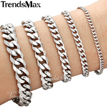 Trendsmax 18cm 20cm Womens Mens Bracelet Stainless Steel Jewelry Curb Cuban Link Chain Silver Color KBM03(Hong Kong)
