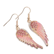 LASPERAL Angel Wings Shape Rhinestone Drop Earrings Pink Red Alloy Fashion Wedding Party Women Statement Earrings Brincos 2017
