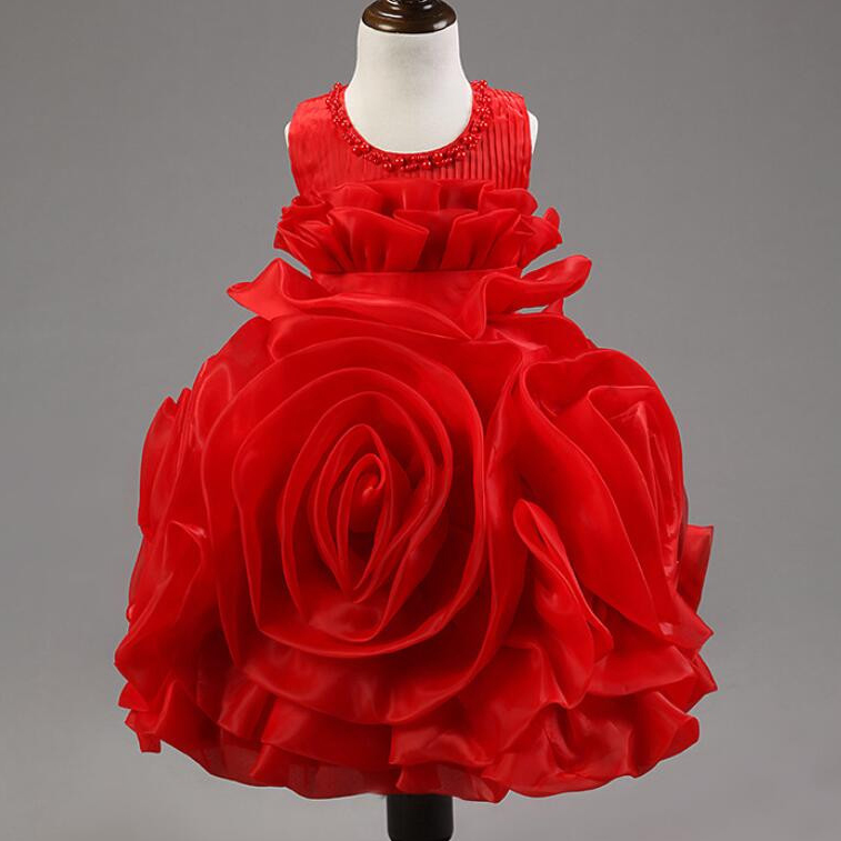 Pageant 3D Rose Flower Girls Red Dress kids Frocks Princess Party Birthday Wedding Dresses vestidos Clothes For 2 4 6 8 10 Years<br>