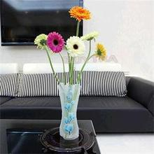 MENGXIANG 1Pc PVC Folding Flower Vase Fish Tank Foldable Rose Flowers Home Office Wedding Party(China)