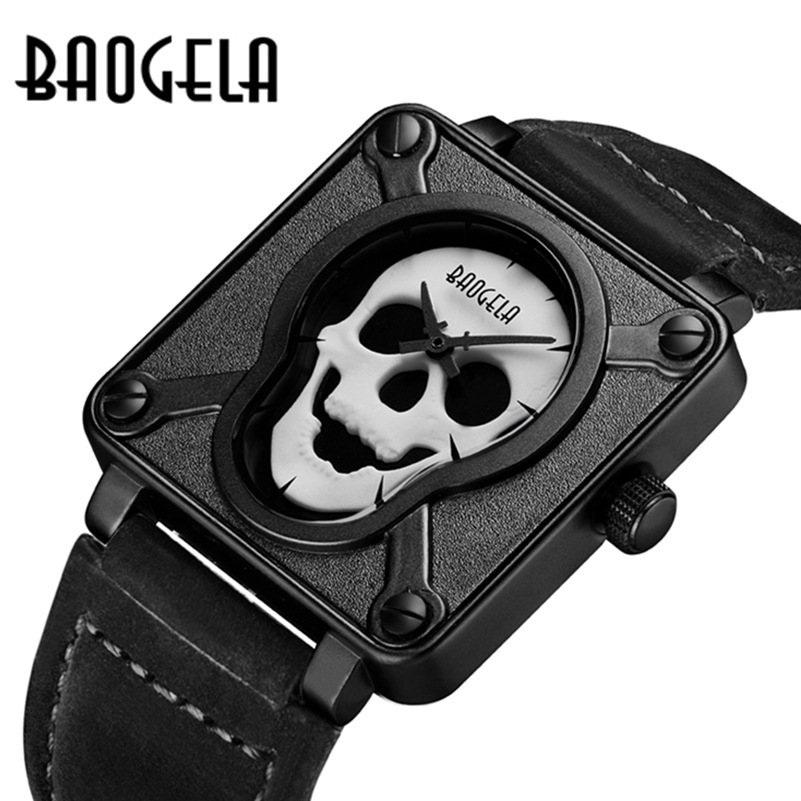 BAOGELA luxury brand black gold square Skull Genuine leather quartz watches for mens casual waterproof mens clocks luminous<br>