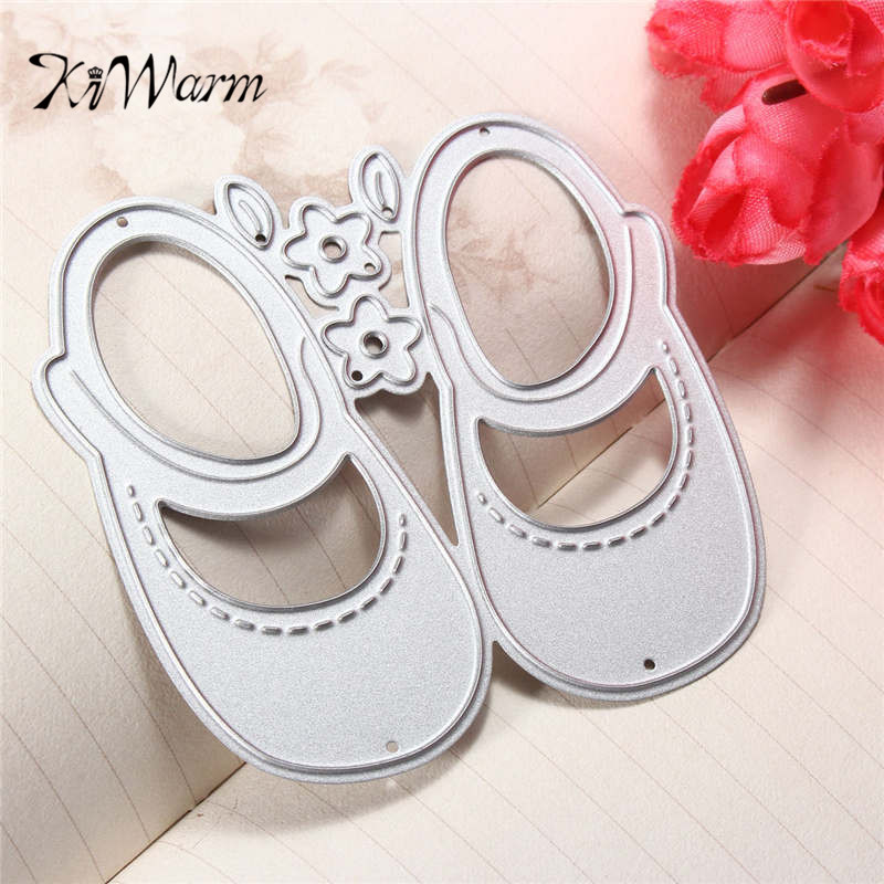 Child Shoes Hot Stencil Metal Cutting Dies Scrapbooking Cut Practice Hands-on DIY Album Craft Dies Supplies Silver
