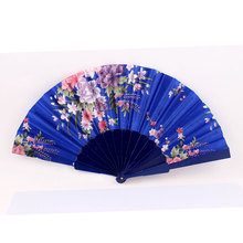 Uxcell Wedding Party Flower Pattern Plastic Frame Fabric Cover Foldable Hand Fan Blue black | blue | flower | fuchsia | pink |