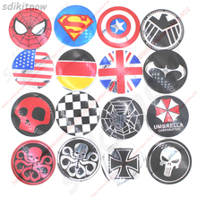 4pcs Funny Skull Hero Car Wheel Center Hub Caps Cover Rim Sticker Emblem Badge Styling For BMW AUDI VW FORD HONDA KIA JEEP OPEAL(China)